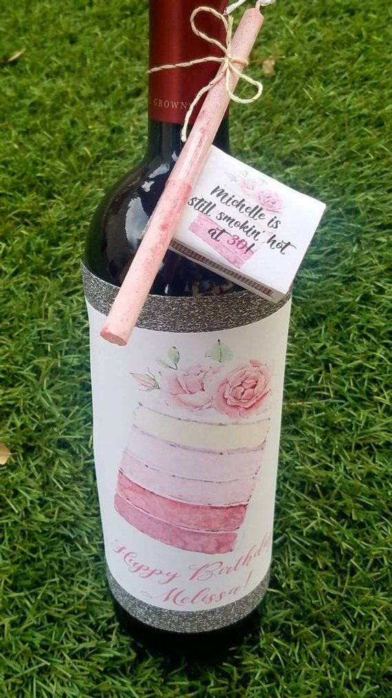 Custom Birthday Cake Candle Wine Label And Matchbox Party Gift Set Personalized Retirement Favors