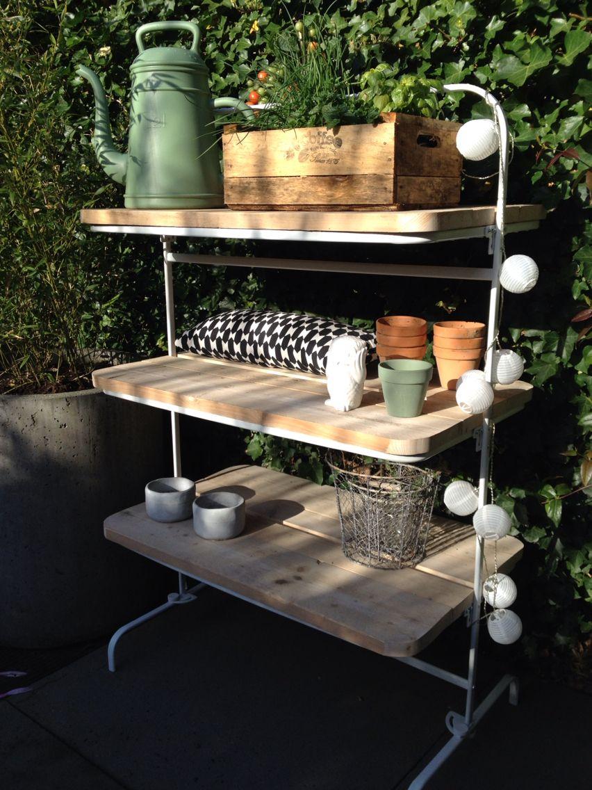 Zelfgemaakt van Ikea droogrek & steigerhout   DIY   Pinterest