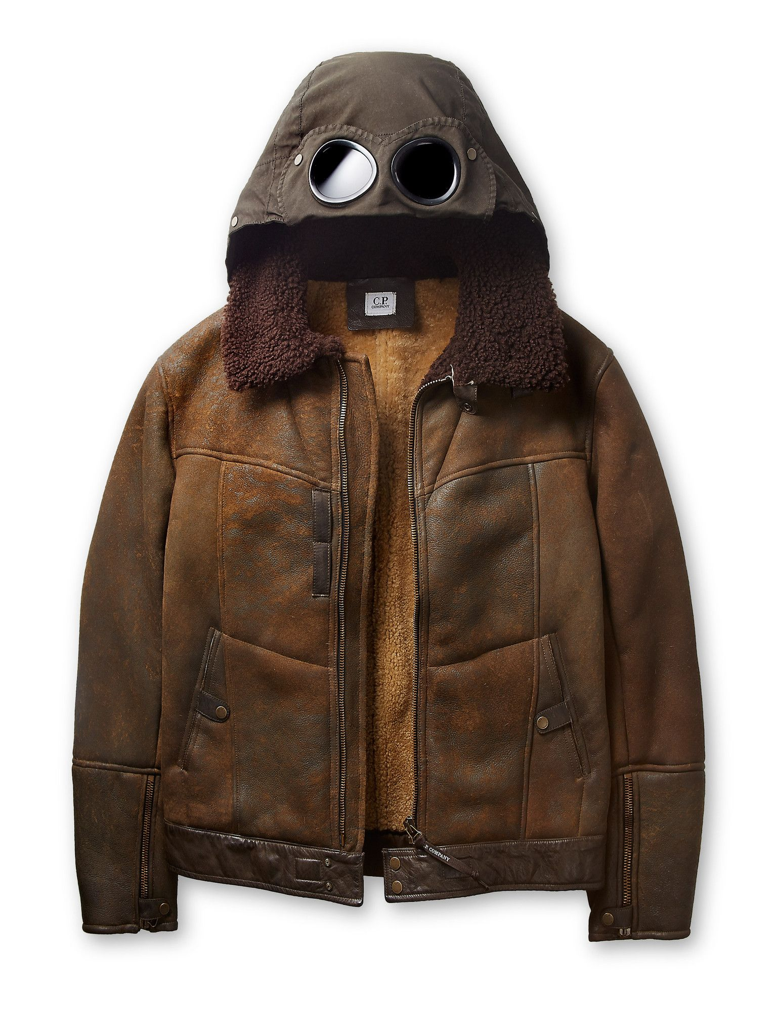 2c955260f Raw Shearling Goggle Jacket in Brown   CP Company   Jackets, Leather ...