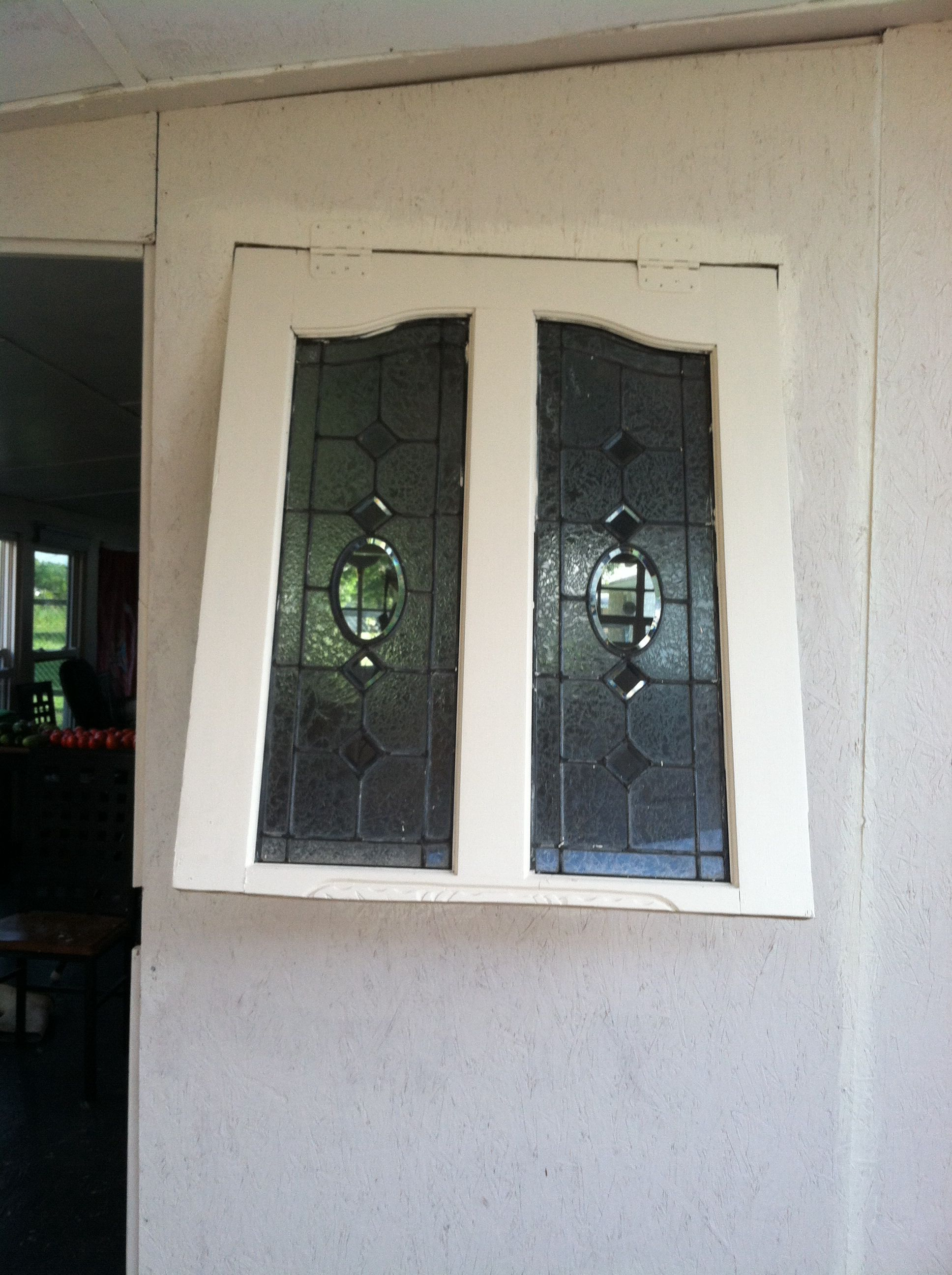 Cut A Old Front Door In Half Install Top Of With Glass Into Your Opening Window Put Hinges At The Panel