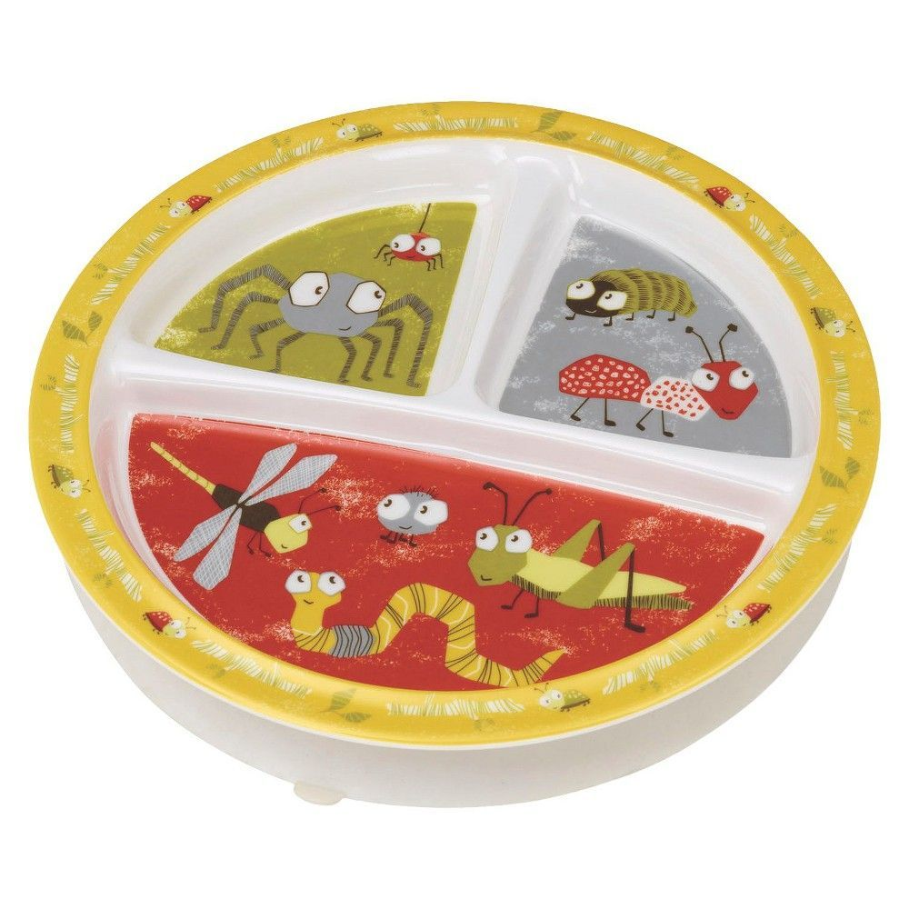 SugarBooger Divided Suction Plate - Icky Bugs, White