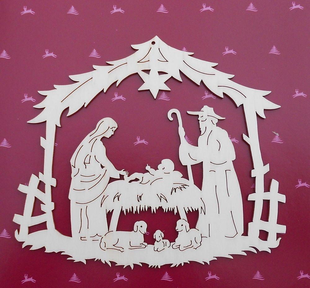 fabulous large german christmas wooden window decoration nativity
