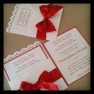 Blanca Con Rojo Invitaciones Wedding Invitations