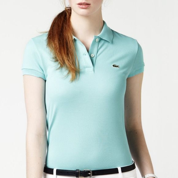 Lacoste piqué cotton stretch polo shirt 36 Lacoste. Designed in France.  Rare capri blue, mint shade. Short sleeved pique polo. Two button placket. ab52a6bd44