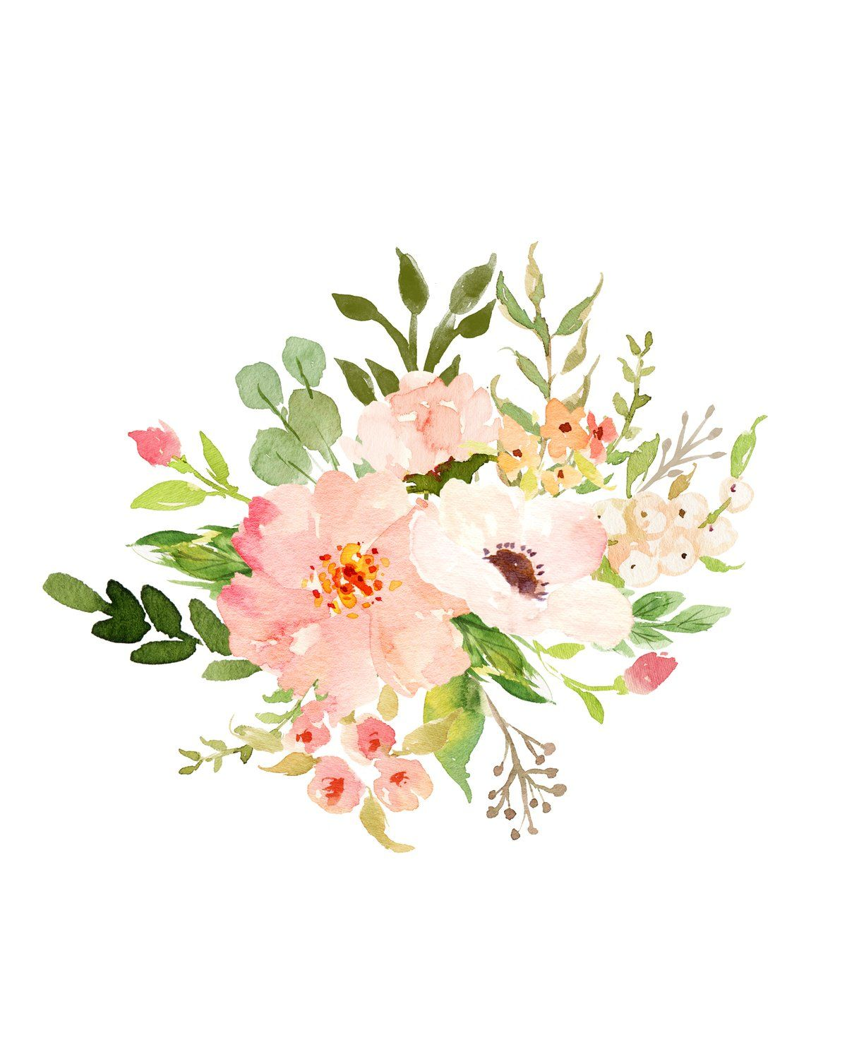 Floral Whimsy Bouquet Ii Instant Download Floral Watercolor
