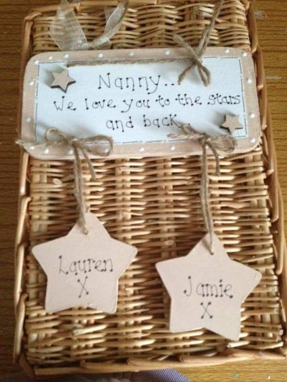 Personalised nan plaque, love you to the stars, mum sign #mumsetc I/we love you to the stars and back. Handmade wooden plaque sign, Great gift for nanny nan granny auntie grandad uncle daddy etc and can be painted in any colour choice. We make these from 6mm mdf and they measure approx 6.5 inches long and 4 inches high without the hanging stars. These would make lovely gifts for Christmas/birthdays etc. If you have any questions please just ask. Thank you for taking the time to view our shop tod #mumsetc