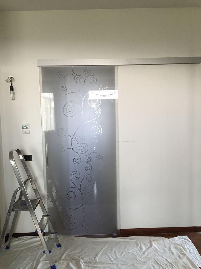 Porta vetro cristallo scorrevole decorata klimt cornici - Porte interne in vetro scorrevoli ...