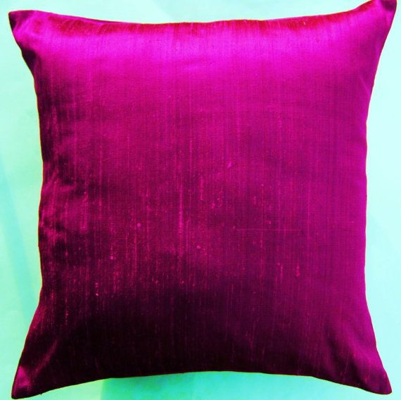 Magenta Dupioni Silk Pillow Covers Just Bought These To Go On My Modern White Living Room Sofas