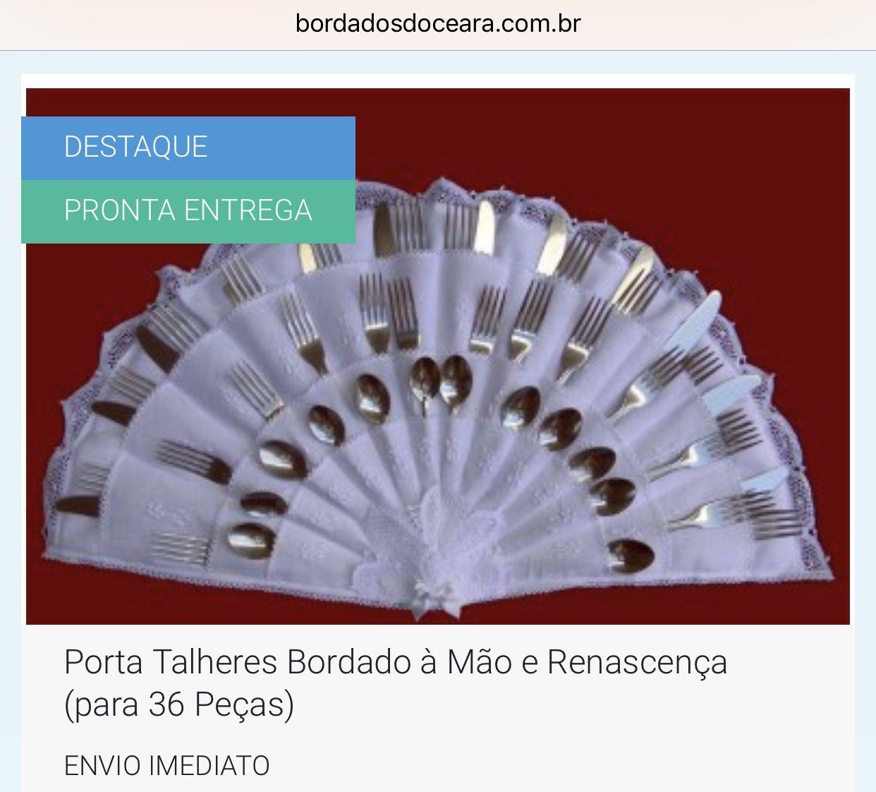 👉 ENVIO IMEDIATO 📦 / PRONTA ENTREGA  👉 PORTA TALHERES BORDADO À MÃO E RENASCENÇA (PARA 36 PEÇAS). 👉 Tam. 60 x 36cm. 👉 Capacidade para 36 Peças. 👉 Bordado à Mão. 👉 Detalhe em Renda Renascença. 👉 100% Artesanal, bordado a mão.   📱 WhatsApp 85 98959.9107 💻 http://www.bordadosdoceara.com.br/produtos/mesa/porta-talheres-bordado-a-mao-e-renascenca-para-36-pecas-detail.html