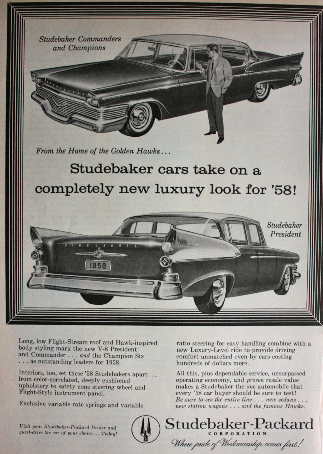1957 Ad 1958 Studebaker Packard Car President And