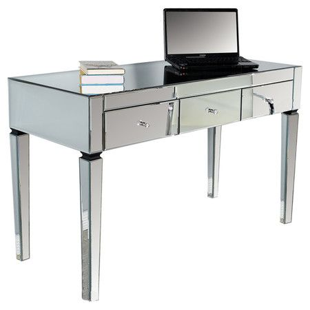 3 Drawer Desk With Wood Framing And Beveled Mirror Paneling Product Deskconstruction Material Mirrored Gl