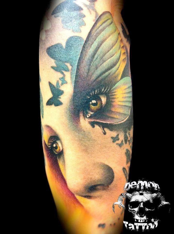 Face Butterfly Eye Tattoos And Inspiration Flowers Amp Portrait Pi Butterfly Eyes Eye Tattoo Flower Tattoo Sleeve Men