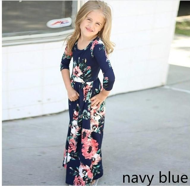 5b22a885212f Bohemian Women Dresses for Mother Daughter Floral Little Girls Dresses  Family Matching Dress Fashion Mom and Me Toddler Dress