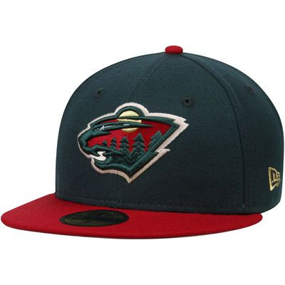 Men's New Era Green/Red Minnesota Wild 2-Tone 59FIFTY Fitted Hat