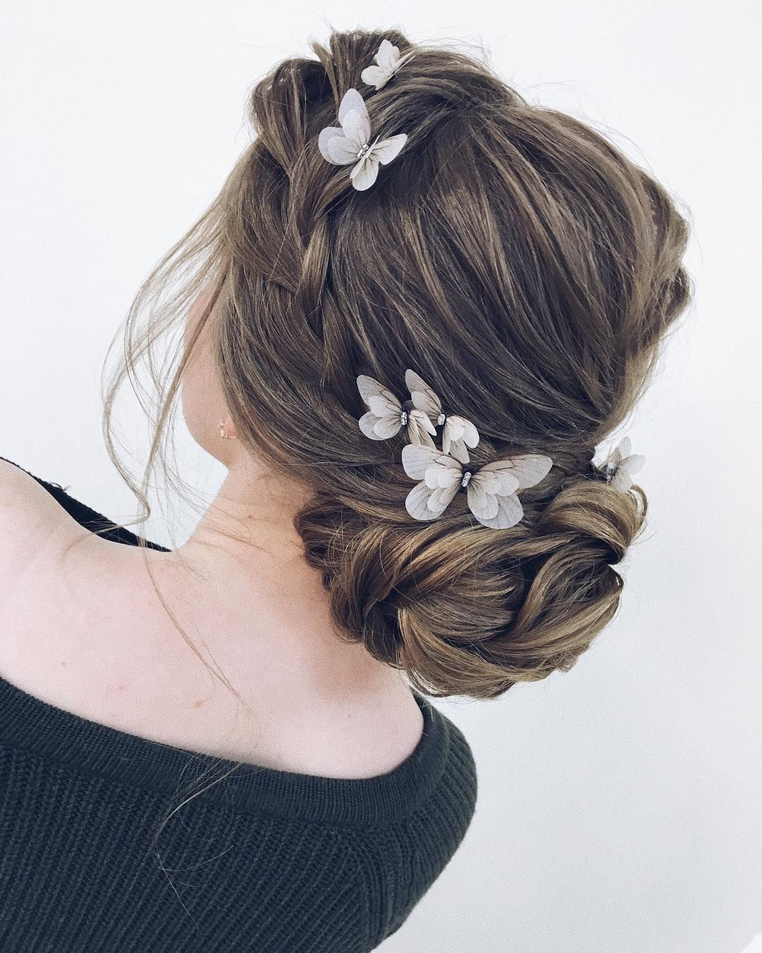 Butterfly hair pin Bride ivory hair pin gold Wedding hair accessories butterfly Silk fairy hair piece jewelry fabric beach hairstyle