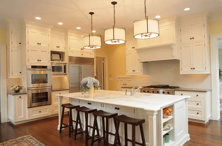Cocinas blancas con muebles de madera muy modernas | Cocina con isla ...