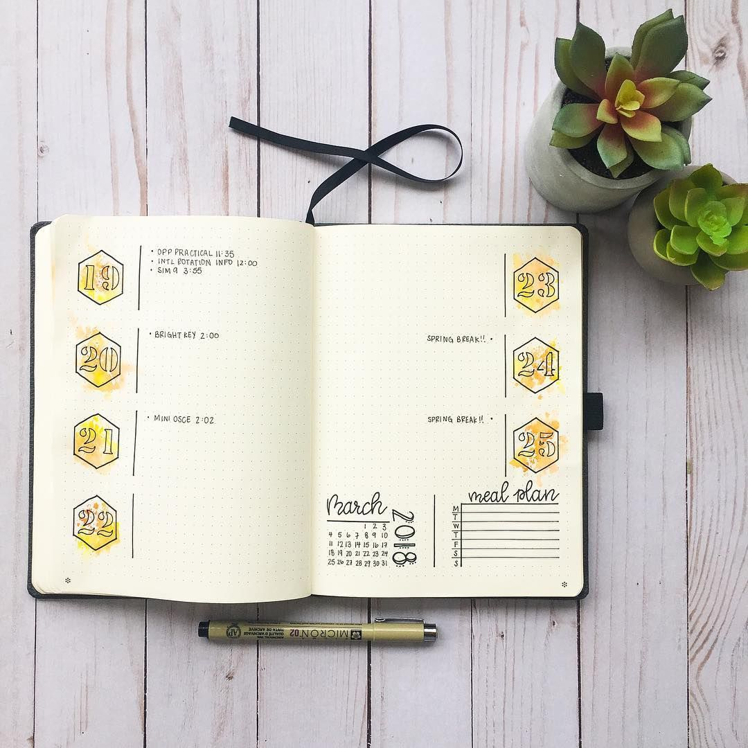 """Bullet with Christine on Instagram: """"Cute and simple weekly layout! Did some watercoloring with the numbers in yellow to match my theme for the month! 🐝  #bulletjournal…"""", #Bullet #bulletjournal #Christine #cute #Instagram #layout #Match #Month #numbers #Simple #Theme #watercoloring #Weekly #yellow"""