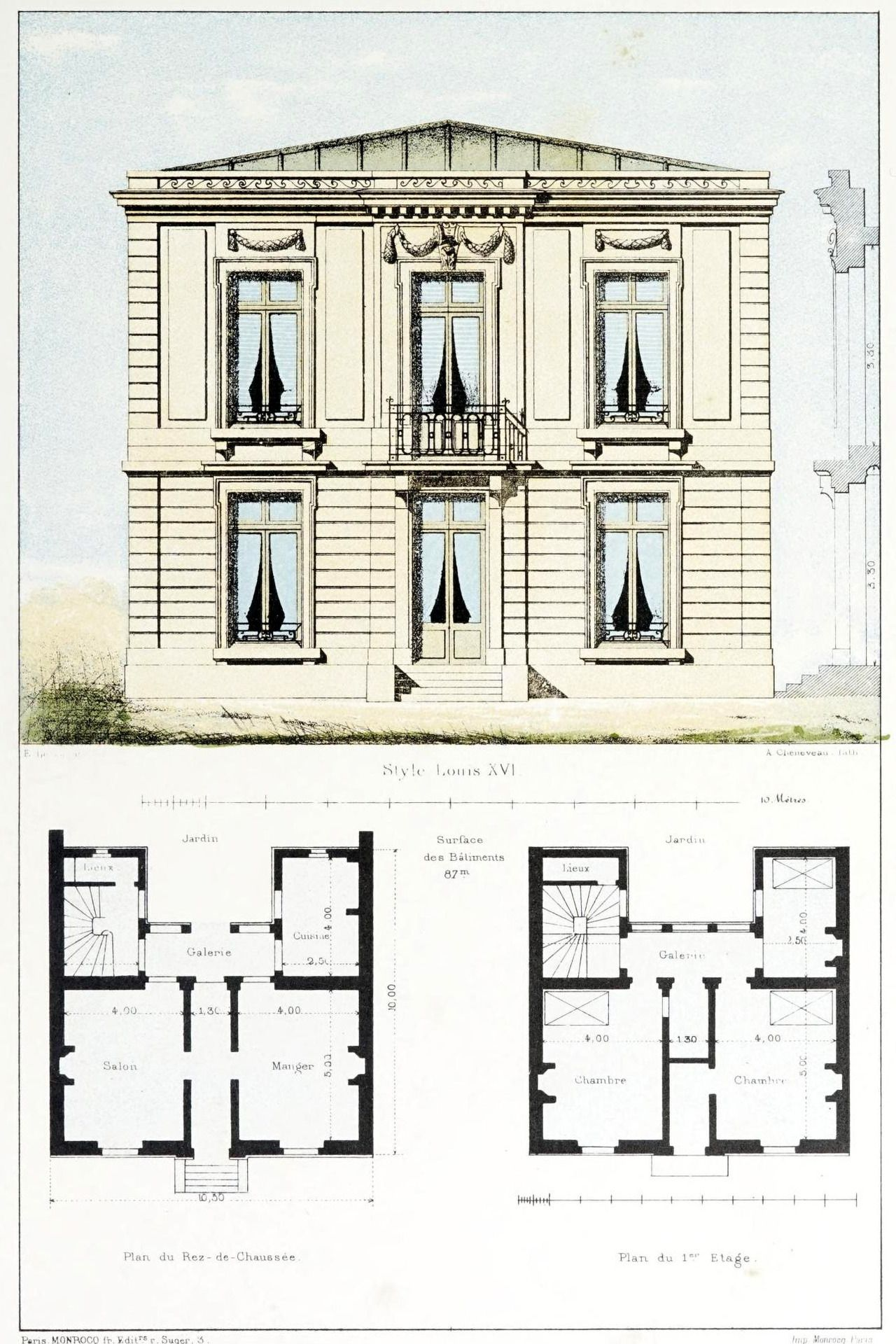 Design For A Louis Xvi Style Residence France Architecture Mapping Architecture Architecture Drawing
