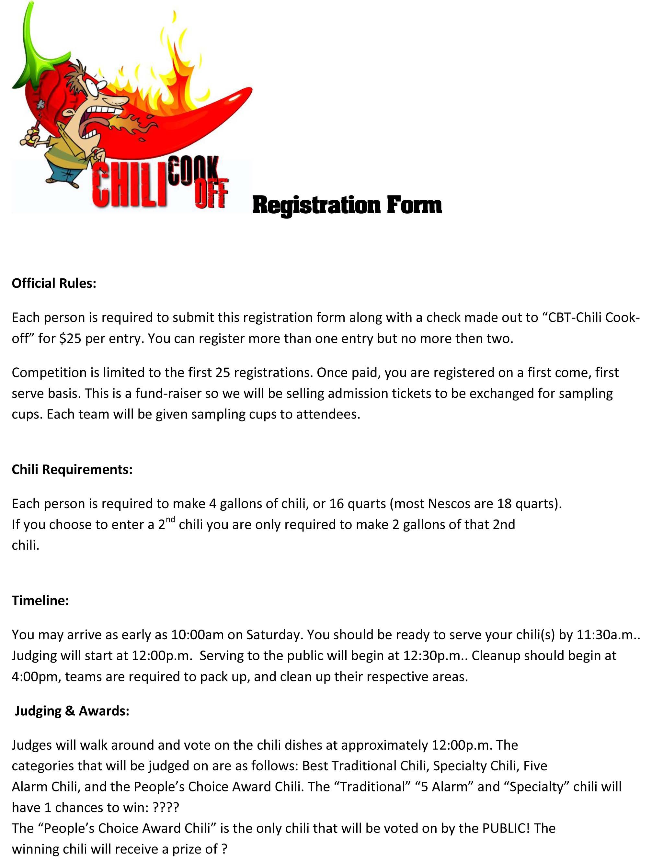 Sherry Strum Registration Form Chili Cook off-1.jpg | Chili ...