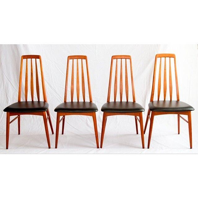 Set Of 4 Danish Teak Chairs Designed By Niels Koefoed For Koefoeds Hornslet Circa 1960 Original Black Vinyl Seats In M Teak Chairs Dining Chairs Chair Design