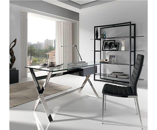 Mesa de escritorio en cristal templado y acero inoxidable - Mesas cristal templado ...
