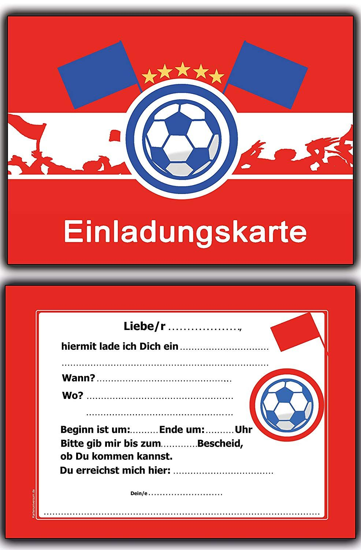 Der Spielzeugtester hat das 8 x Einladungskarten Fussball Rot Weiss Kindergeburt...