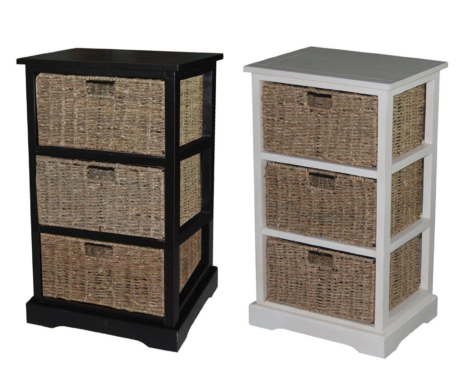 Amazon.com   Urbanest 1000480 Accent Storage Cabinet With Three Seagrass Basket  Drawers, Antique