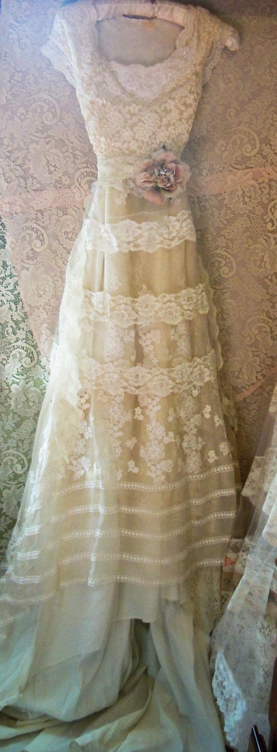 Lace wedding dress handmade by vintage opulence on etsy the top is a