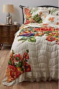 Esperanza Bedding  STYLE # 23865157  $78.00–$268.00  Shown In: Cream    DETAILS  Inspired by a trip to Buenos Aires, a delicately ruffled edge contains the vibrant blooms of an Argentinian garden.  Cotton  Dry clean  Imported
