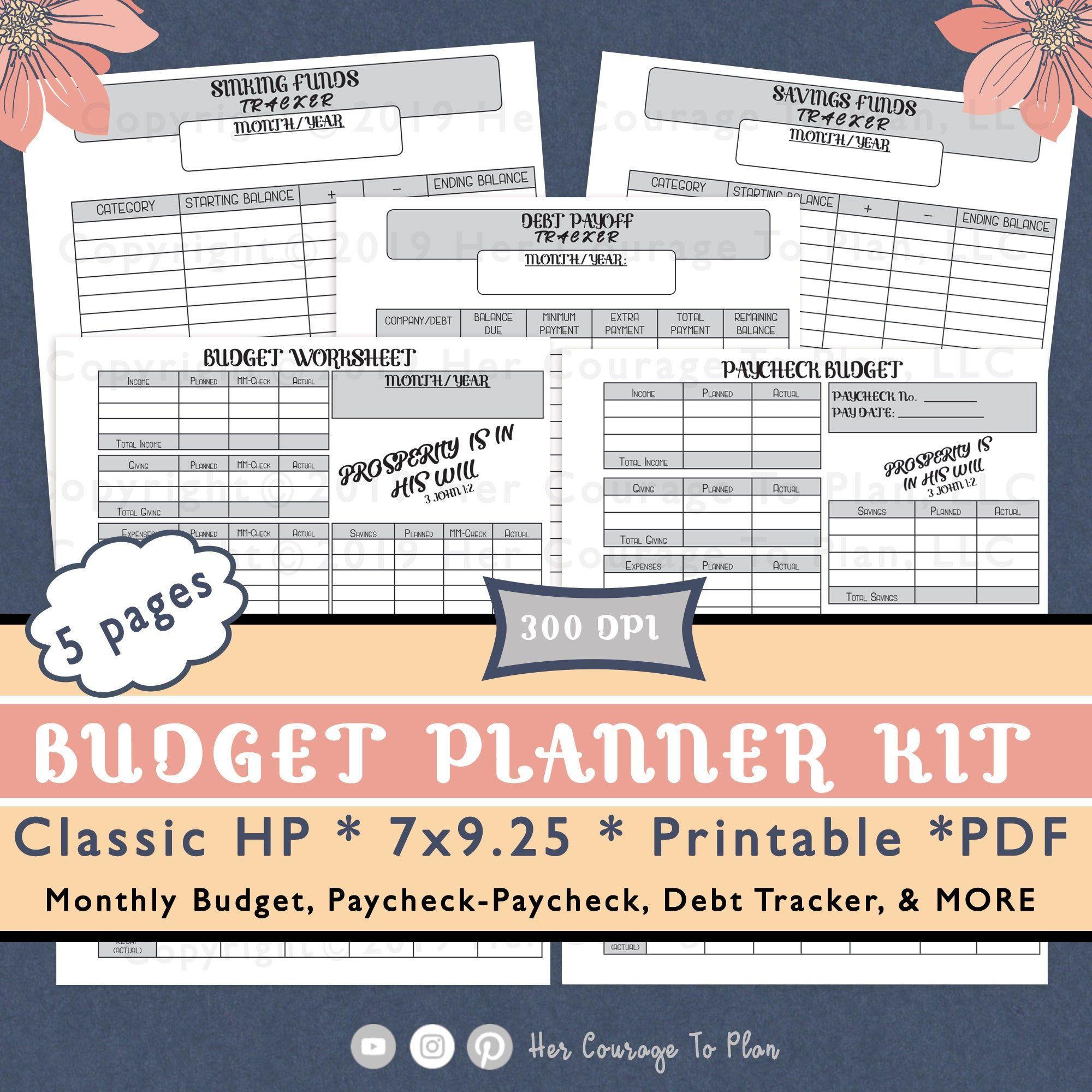 Budget Worksheets Kit Stickers Basic Scripture 5
