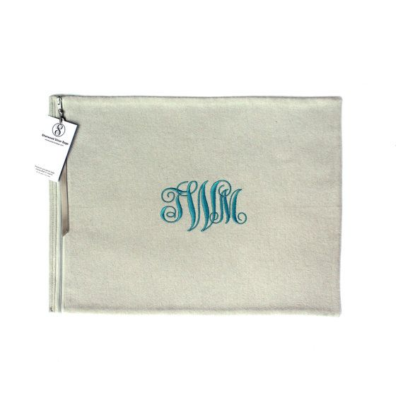 """Silver Storage Bag 12"""" x 16"""" - Anti Tarnish - Monogrammed - for Sterling Silver Platter, Silver Tray - Simple Elegance Collection Gray 3"""