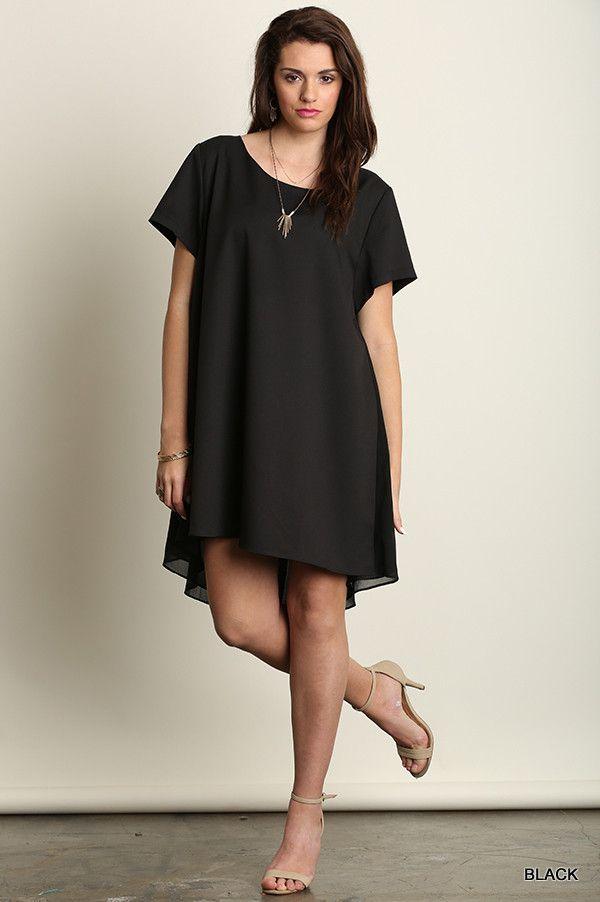 Plus Size Short Sleeve A Line Hi Lo Dress Black Plus Size