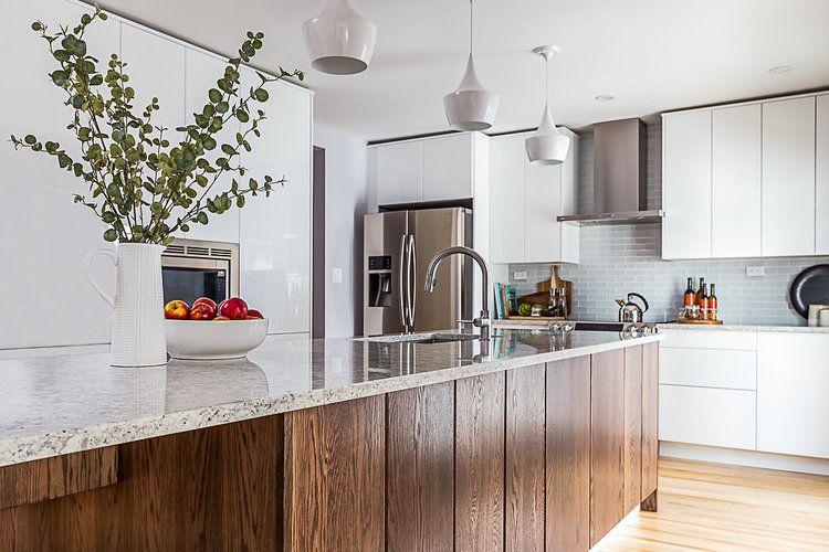 Modern white IKEA kitchen, customized with oak cabinet ...