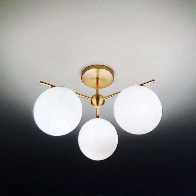 West elm sphere stem 3 light chandelier flushmount brass west elm sphere stem 3 light chandelier flushmount brass aloadofball Image collections