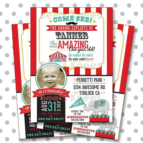 Circus Birthday Invitation Carnival Mustache 1st birthday first