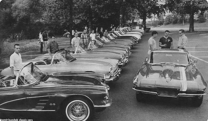 Courtesy of Skyline Drive Corvette Club | Members of the Skyline Drive Corvette Club gather for a road rally in this photo taken in August 1965 at the Shillington Diner. Standing second from left with the 1960 convertible he still owns and drives to this day is Barry Goodhart, current club president. — with Elisabet Núñez.