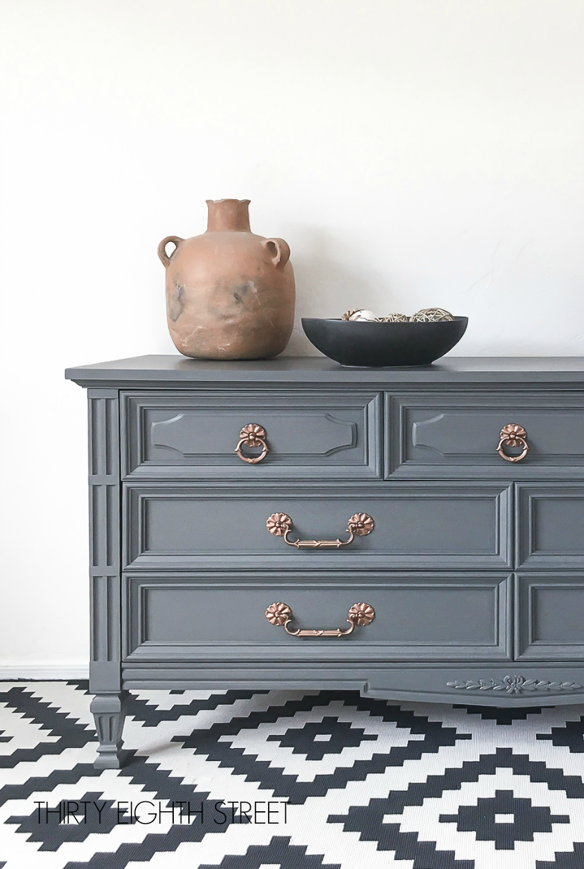 How To Paint A Dresser With Chalk Paint Painted Dresser Inspiration Copper Hardware Ch Painting Wood Furniture Painting Old Furniture Grey Painted Furniture