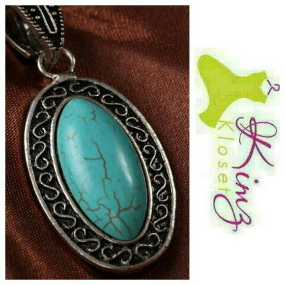 """Turquoise Pendant Necklace Gorgeous Tibetan Silver oval pendant with cracked turquoise inset & 20"""" chain, NWOT Jewelry Necklaces"""