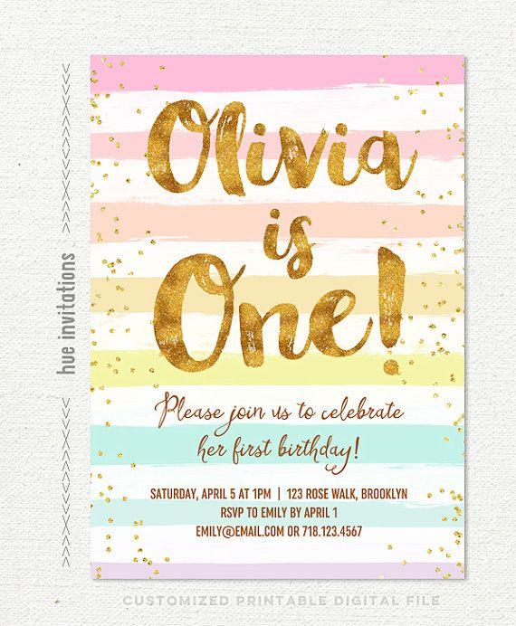 rainbow 1st birthday invitation for girl pastel stripes gold - invitation for 1st birthday party girl