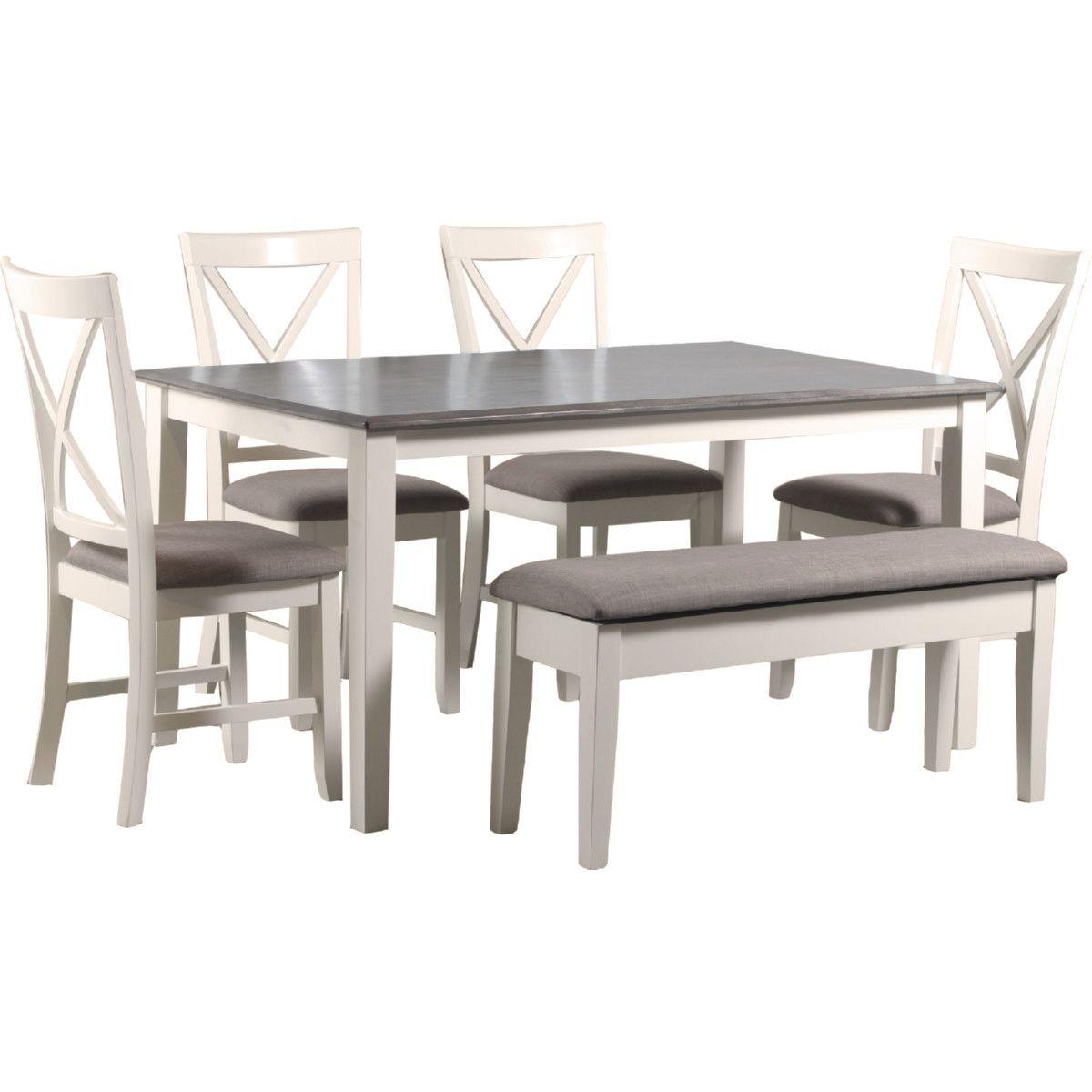 Powell 15d8153pc6 Jane 6 Piece Dining Set In Vanilla White Taupe Fabric Table Bench 4 Chairs Grey Dining Tables Grey Kitchen Table Kitchen Table Settings