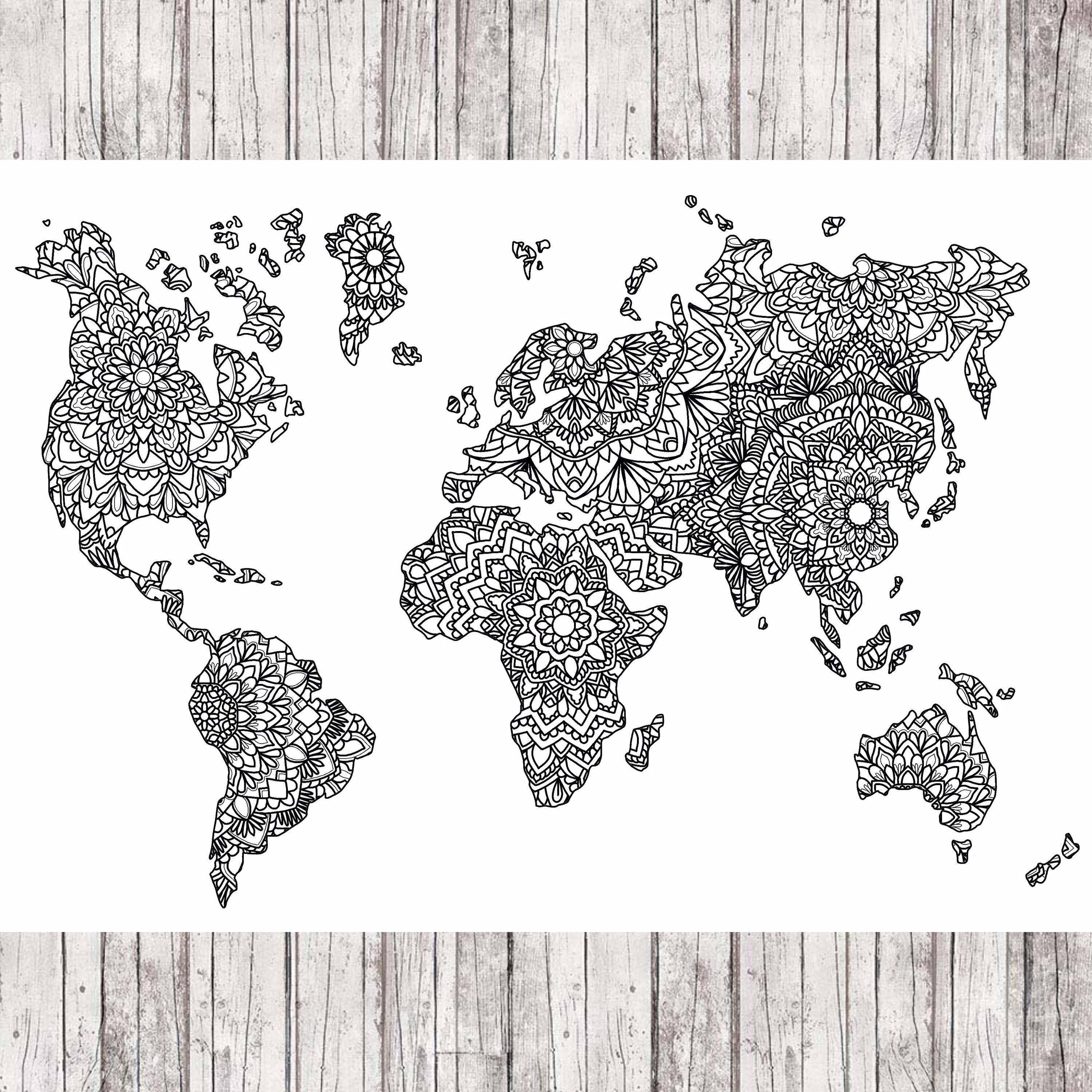 Excited to share the latest addition to my etsy shop mandala world to my etsy shop mandala world map httpetsy2ngd7sc art print digital white black walldecor wallart digitalprint drawing worldmap gumiabroncs Images