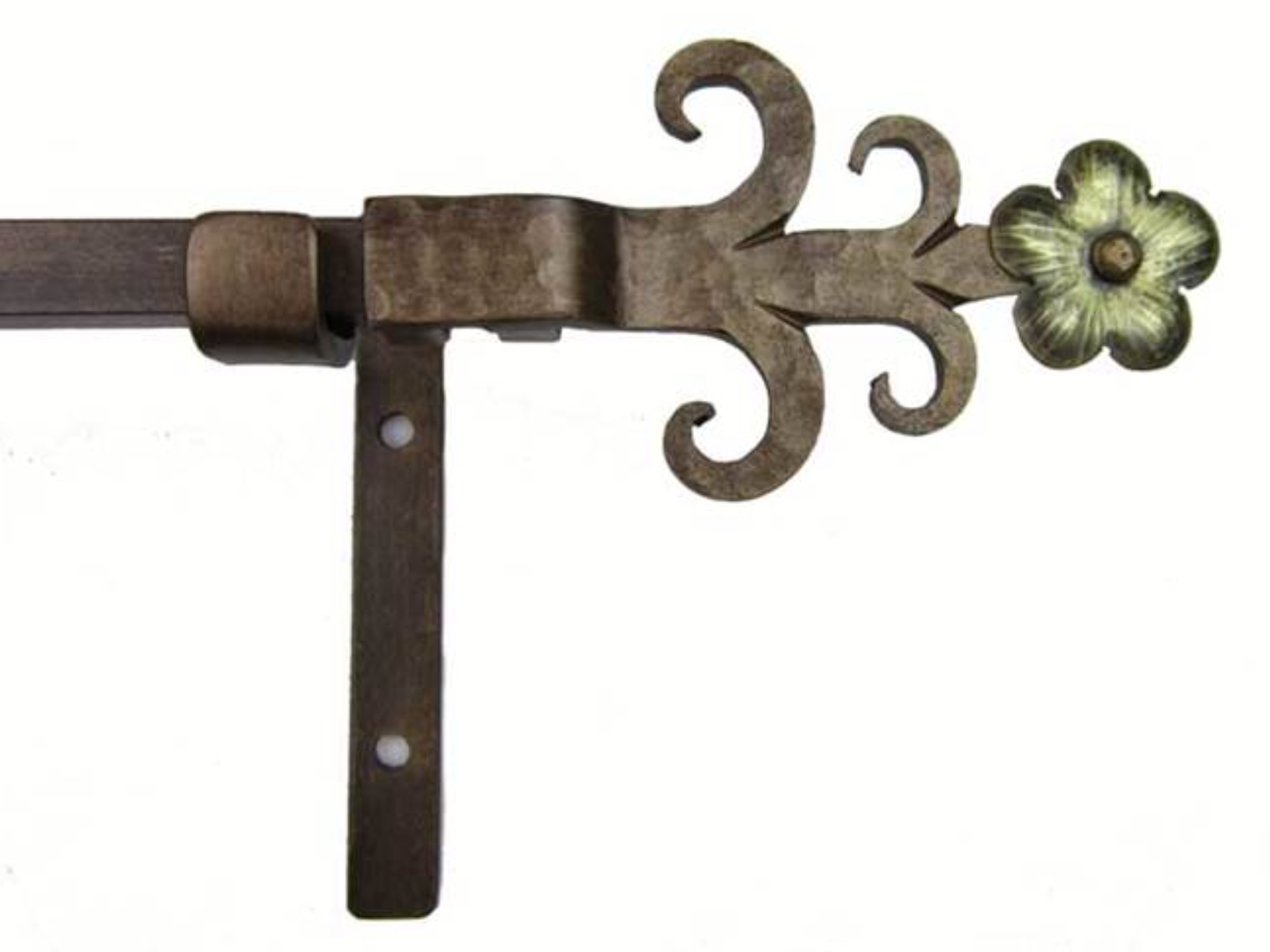 wrought iron curtain rod with finial