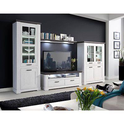 Ebay Angebot Wohnwand Garlando Anbauwand Wohnzimmer Wohnkombi Schneeeiche Weiss Und Pinie Grauihr Quickberater Home Decor Living Room Designs Home