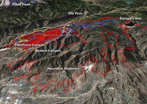 Map Of The Waldo Canyon Fire Waldo Fire In Colorado Springs Co