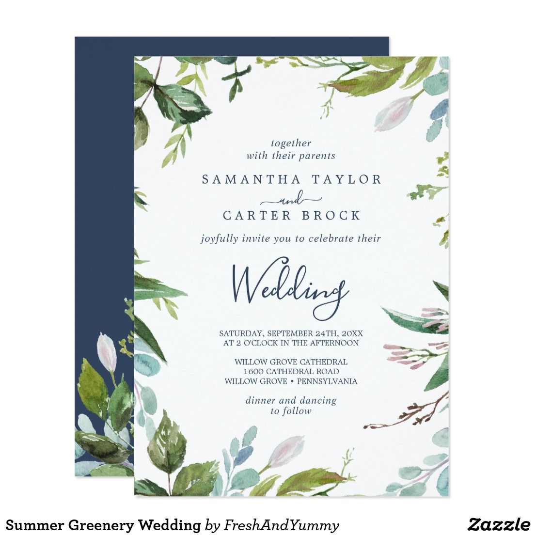 Summer Greenery Wedding Invitation Zazzle Com Beach Wedding