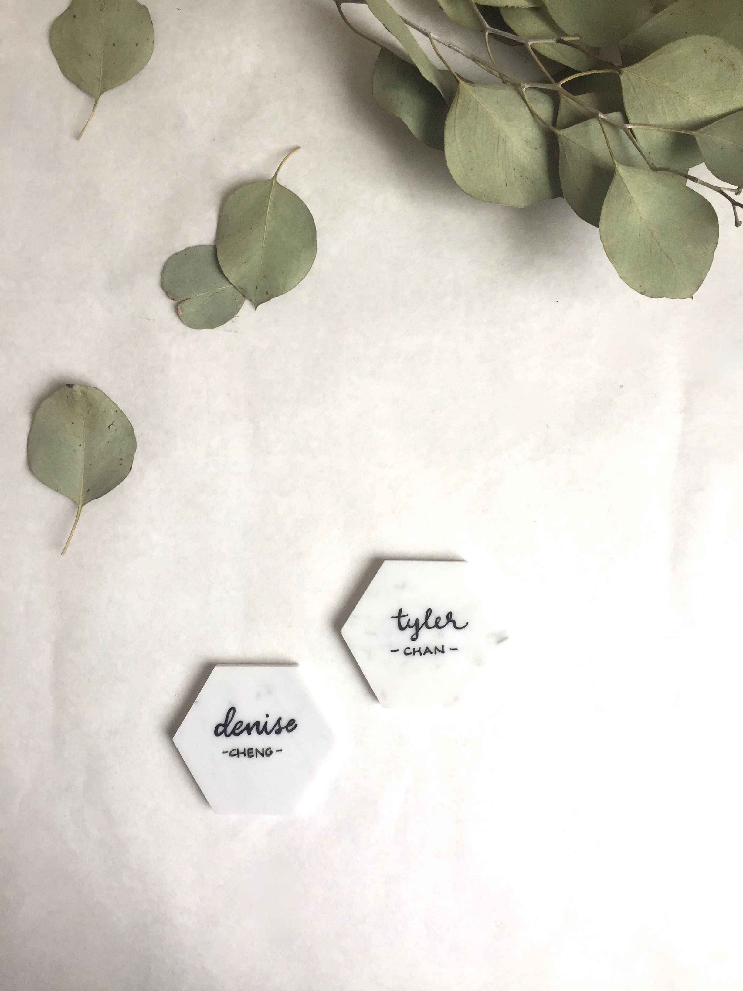 Calligraphy names on Italian Carrara Marble hexagons for wedding ...