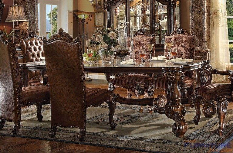 Acme Furniture Versailles Cherry Oak Rectangular Dining Table 61115 Dining Room Victorian Dining Table Formal Dining Room Sets