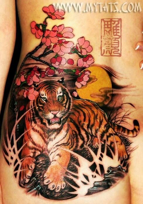 04b248a83 Tiger Sakura tattoo | Los mejores tattoo | Tatuaje de tigre, Fotos ...