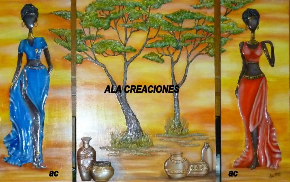 polymer clay wall art painting | African womens | Pinterest | Clay ...