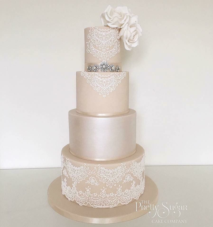 Champagne lustre lace wedding dress inspired wedding cake ...